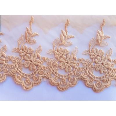 Puntilla de tul bordado de varios colores