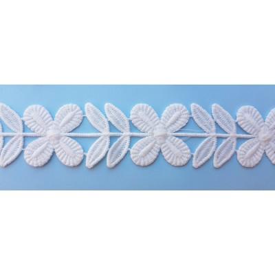Pasamanería flores blancas 30mm de ancho