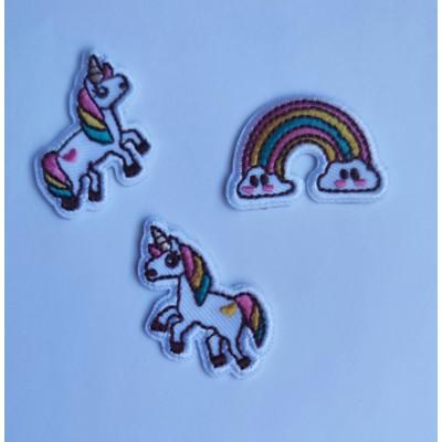 Pack de 3 aplicaciones unicornio y arcoiris